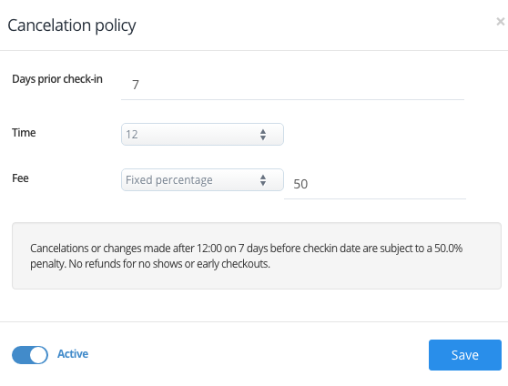 Creating Cancellation Policy