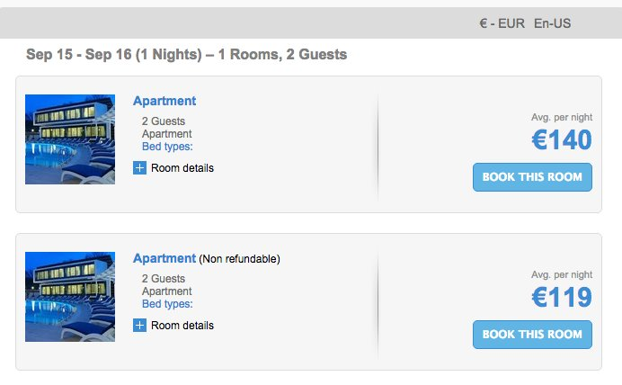 Selecting the Room Type